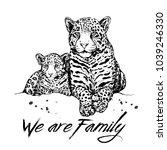 hand drawn sketch style leopard ... | Shutterstock .eps vector #1039246330
