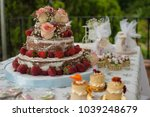 strawberry wedding cake | Shutterstock . vector #1039248679