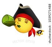 pirate emoji. vector smiley of... | Shutterstock .eps vector #1039271488