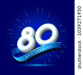80th anniversary with ribbon  ... | Shutterstock .eps vector #1039271950