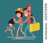happy family traveling with kids | Shutterstock .eps vector #1039276558