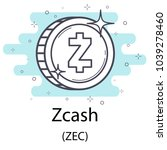 white zcash cryptocurrency coin ... | Shutterstock .eps vector #1039278460