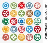 multicolor gear set mechanism... | Shutterstock .eps vector #1039278484