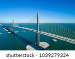 Aerial image of a steel cable suspension bridge Tampa Bay Florida