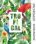 tropical hawaiian design with... | Shutterstock .eps vector #1039281760