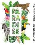 tropical hawaiian design with... | Shutterstock .eps vector #1039281769