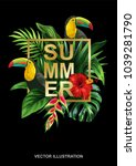tropical summer design with... | Shutterstock .eps vector #1039281790