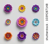 Stock photo  d rendering paper art decorative flowers floral background botanical pattern vivid candy 1039287148