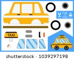 cut and glue the paper taxi car.... | Shutterstock .eps vector #1039297198