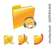 with headphone folder character ... | Shutterstock .eps vector #1039301404