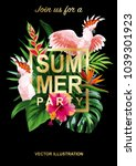 tropical hawaiian party... | Shutterstock .eps vector #1039301923