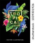 tropical hawaiian design with... | Shutterstock .eps vector #1039301926