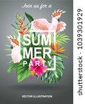 tropical hawaiian party... | Shutterstock .eps vector #1039301929