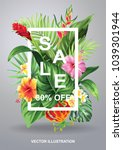tropical hawaiian sale poster... | Shutterstock .eps vector #1039301944