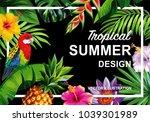 tropical hawaiian design with... | Shutterstock .eps vector #1039301989