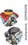 old and modern car engine | Shutterstock .eps vector #103930358