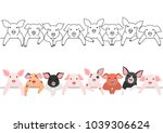 little pigs border set | Shutterstock .eps vector #1039306624