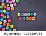 the words social media on black ... | Shutterstock . vector #1039309756