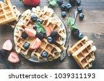 belgian waffles with... | Shutterstock . vector #1039311193