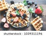 belgian waffles with... | Shutterstock . vector #1039311196