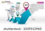 infographic timeline on blue... | Shutterstock .eps vector #1039312960