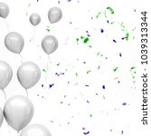 silver baloons on the left... | Shutterstock . vector #1039313344