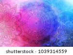 mandalas on a blue  pink ... | Shutterstock . vector #1039314559