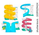 colorful aquapark isolated set... | Shutterstock . vector #1039329424