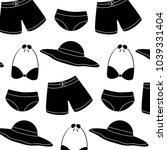 trunks bikini swimsuit hat... | Shutterstock .eps vector #1039331404