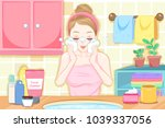 cartoon woman wash face in the... | Shutterstock .eps vector #1039337056