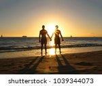 gay couple sunset silhouette | Shutterstock . vector #1039344073