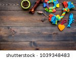 Stock photo pet care concept toys near bowls with animal feed on dark wooden background top view copy space 1039348483