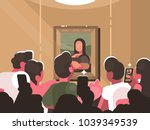 mona lisa painting at... | Shutterstock .eps vector #1039349539
