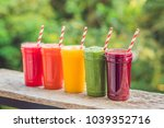 rainbow from smoothies....   Shutterstock . vector #1039352716