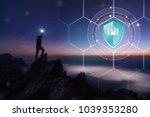 shield protection travel on... | Shutterstock . vector #1039353280
