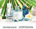 light blue glass jar of sea...   Shutterstock . vector #1039356436