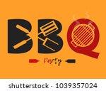 bbq logo design vector or... | Shutterstock .eps vector #1039357024