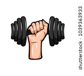 dumbbell in hand icon. vector... | Shutterstock .eps vector #1039363933