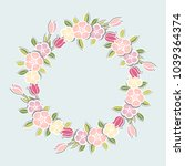 pink flowers wreath isolated on ...   Shutterstock .eps vector #1039364374