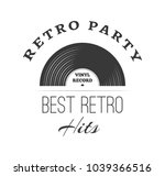 vinyl record logo template.... | Shutterstock .eps vector #1039366516