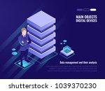 server rack  data management... | Shutterstock .eps vector #1039370230