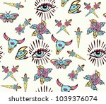 esoteric color tattoo seamless...   Shutterstock .eps vector #1039376074