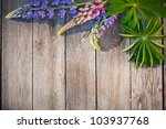 Beautiful Lupines On Wooden...