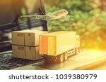 air courier   freight forwarder ... | Shutterstock . vector #1039380979
