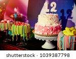 girlish birthday party food  ... | Shutterstock . vector #1039387798