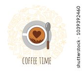 coffee time vector illustration.... | Shutterstock .eps vector #1039392460