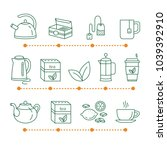 tea time linear icons. cafe hot ... | Shutterstock .eps vector #1039392910