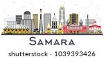 samara russia city skyline with ... | Shutterstock . vector #1039393426
