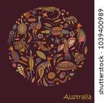 animals of australia. sketches... | Shutterstock .eps vector #1039400989