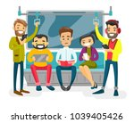 caucasian white people reading... | Shutterstock .eps vector #1039405426